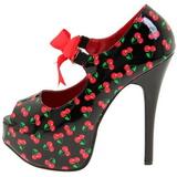 Cseresznye Minta Fekete 14,5 cm Burlesque TEEZE-25-3 női cipők a magassarkű