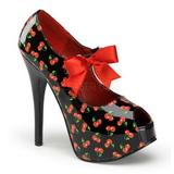 Cseresznye Minta Fekete 14,5 cm Burlesque TEEZE-25-3 női cipők magassarkű