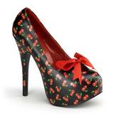 Cseresznye Minta Fekete 14,5 cm TEEZE-12-6 női cipők a magassarkű