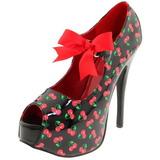 Cseresznye Minta Fekete 14,5 cm TEEZE-25-3 női cipők a magassarkű
