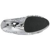 Ezüst 15 cm DELIGHT-1008SQ női flitterekkel magassarkű bokacsizma