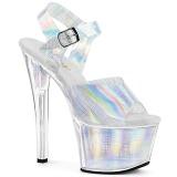Ezüst 18 cm SKY-308N-CRHM Hologram platform magassarkű női