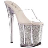 Ezüst 20 cm FLAMINGO-801G csillámos platform női papucs