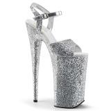 Ezüst 25,5 cm BEYOND-010LG csillámos platform magassarkű női
