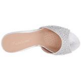 Ezüst 8,5 cm LUCY-01 csillámos alacsony sarkú női papucs