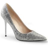 Ezüst Csillámos 10 cm CLASSIQUE-20 Körömcipők Tűsarkú Magas Cipők