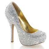 Ezüst Csillogó Kövekkel 13,5 cm FELICITY-20 női cipők a magassarkű