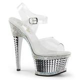 Ezüst Csillogó Kövekkel 16,5 cm ILLUSION-658RS női cipők a magassarkű