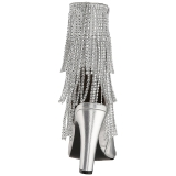 Ezüst Műbőr 10 cm QUEEN-100 nagy méretek bokacsizma női