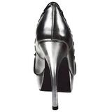 Ezüst Műbőr 13,5 cm PIXIE-18 Gótikus Körömcipők