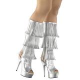 Ezüst Műbőr 15 cm DELIGHT-2019-3 női rojtos csizma a magassarkű