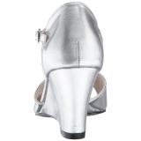 Ezüst Műbőr 7,5 cm KIMBERLY-05 nagy méretek szandál női