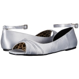 Ezüst Szatén ANNA-03 nagy méretek balerínky cipők