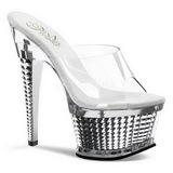 Ezüst Átlátszó 16,5 cm ILLUSION-651 Platform Papucs Női Cipők