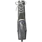 Ezüst csillámos 18 cm ADORE-1018G női platform bokacsizma