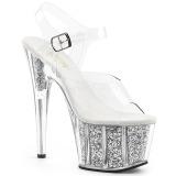 Ezüst csillámos 18 cm Pleaser ADORE-708G rúdtánc magassarkú cipő