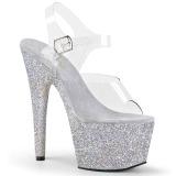 Ezüst csillámos 18 cm Pleaser ADORE-708HMG rúdtánc magassarkú cipő