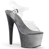 Ezüst csillámos 18 cm Pleaser ADORE-708OMBRE rúdtánc magassarkú cipő