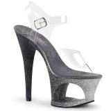 Ezüst csillámos 18 cm Pleaser MOON-708OMBRE rúdtánc magassarkú cipő
