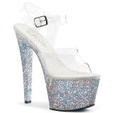 Ezüst csillámos 18 cm Pleaser SKY-308LG rúdtánc magassarkú cipő