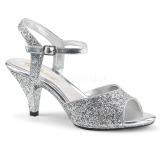 Ezüst csillámos 8 cm BELLE-309G transzvesztita magassarkű cipő