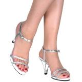 Ezüst strass kö 8 cm BELLE-316 transzvesztita magassarkű cipő