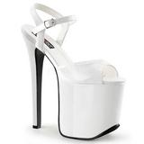 Fehér 18,5 cm Devious TRAMP-709 Fetis Magassarkú Cipők