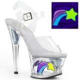 Fehér 18 cm MOON-708RSS Neon platform magassarkű női