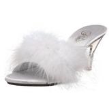 Fehér 8 cm BELLE-301F marabu toll Papucs