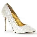 Fehér Csillámos 13 cm AMUSE-20G Körömcipők magas cipők