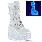 Fehér Glitter 14 cm SWING-230G cyberpunk csizma platformos