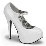 Fehér Lakk 14,5 cm Burlesque BORDELLO TEEZE-07 Platform Körömcipők