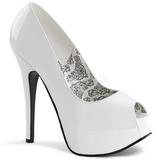 Fehér Lakk 14,5 cm Burlesque TEEZE-22 Körömcipők Tűsarkú Cipő