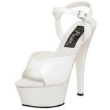 Fehér Lakk 15 cm KISS-209 Platform Magassarkú Cipők