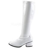 Fehér Lakk 5 cm RETRO-300 Női Csizma Magas Sarkú