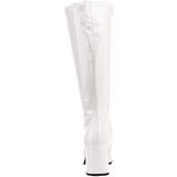 Fehér Lakk 8,5 cm GOGO-300 Női Csizma a Férfi