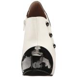 Fehér Lakkbőr 13,5 cm CHLOE-11 nagy méretek körömcipők