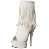 Fehér Matt 15 cm DELIGHT-1019 női rojtos magassarkű bokacsizma