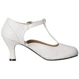 Fehér Matt 7,5 cm retro vintage FLAPPER-26 Női Körömcipők