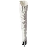 Fehér Műbőr 10 cm CLASSIQUE-3011 Overknee Csizma - Térdcsizma