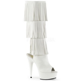 Fehér Műbőr 15 cm DELIGHT-2019-3 női rojtos csizma a magassarkű