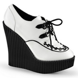 Fehér Műbőr CREEPER-302 creepers éktalpú cipők