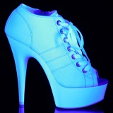 Fehér Neon 15 cm DELIGHT-600SK-01 vászon magassarkú tornacipő
