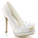 Fehér Szatén 12 cm LUMINA-42 Körömcipők magas cipők