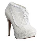 Fehér Szatén 13 cm LOLITA-32 Körömcipők magas cipők