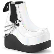 Fehér vegán boots 13 cm VOID-50 demonia éksarkú csizma