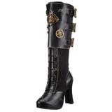 Fekete 10 cm CRYPTO-302 női csatos csizma magassarkű