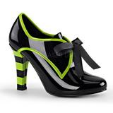 Fekete 10 cm TESLA-14 Oxford női cipők a magassarkű