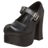 Fekete 11,5 cm CHARADE-05 Platform Gótikus Cipők