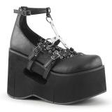 Fekete 11,5 cm KERA-09 Platform Éksarkú Cipők